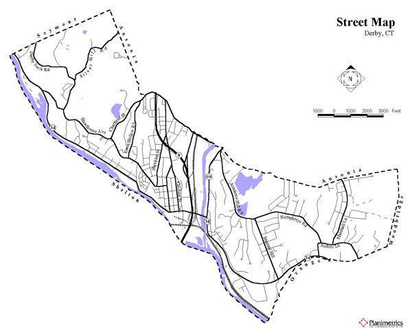 Derby, CT street Map